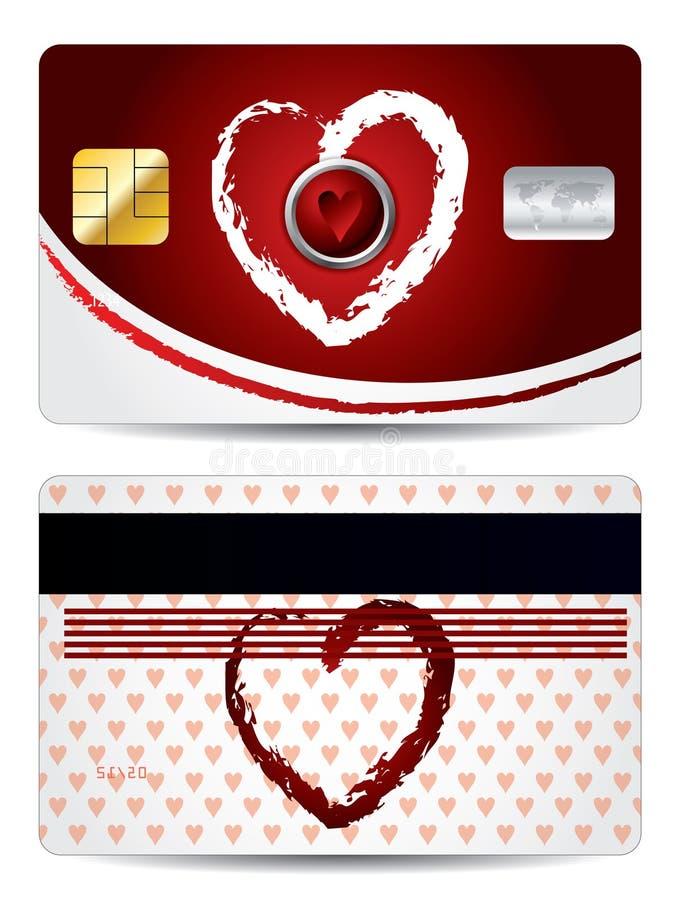 Projeto de cartão do crédito dos corações ilustração do vetor