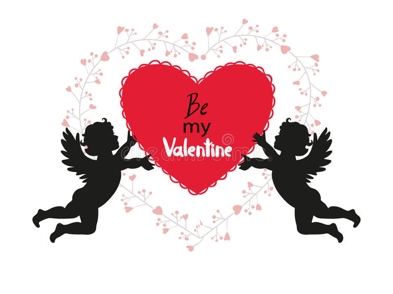 Projeto de cartão do dia de Valentim com cupidos bonitos ilustração do vetor