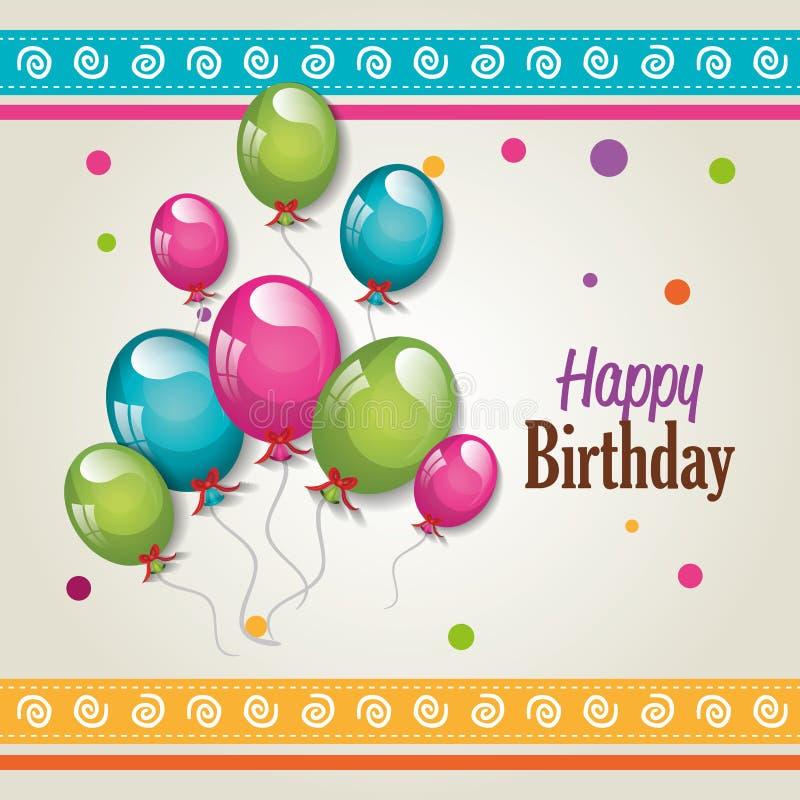 Projeto de cartão do feliz aniversario ilustração royalty free