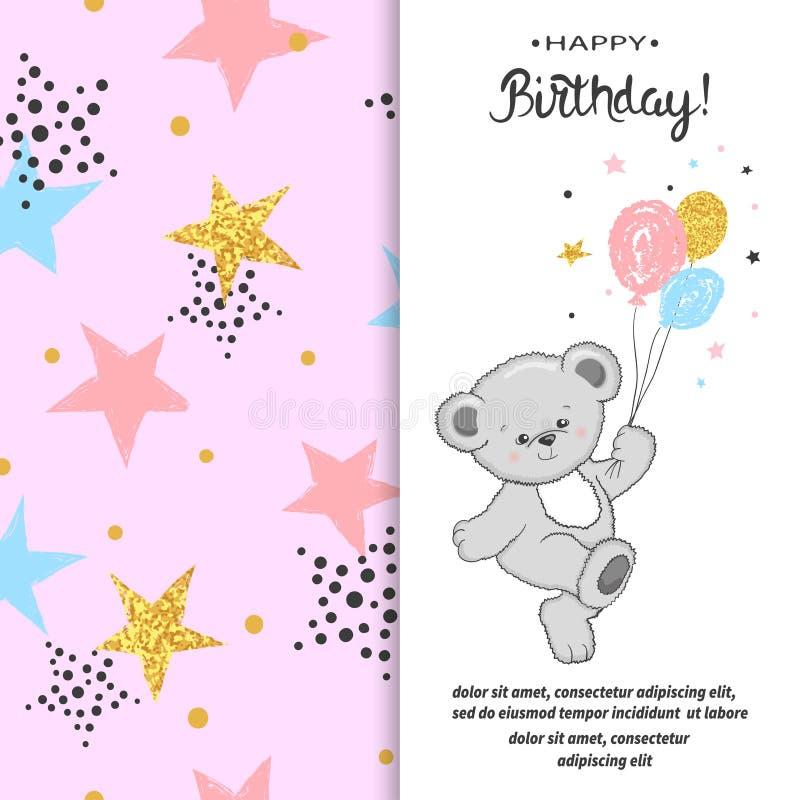 Projeto de cartão do feliz aniversario com o urso e os balões de peluche bonito ilustração royalty free