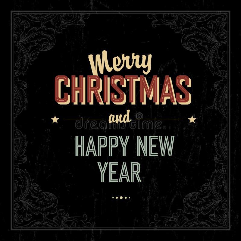 Projeto de cartão do Feliz Natal do vintage Vetor ilustração stock
