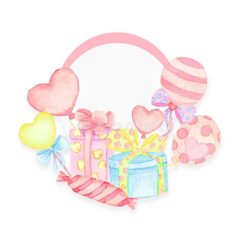 Projeto de cartão do feriado com balão e plano Chuveiro de beb? Papel, álbum de recortes ilustração do vetor