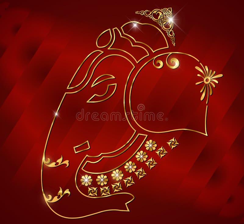 Projeto de cartão do ganesh de Shri, ganesha no fundo vermelho do cetim ilustração stock