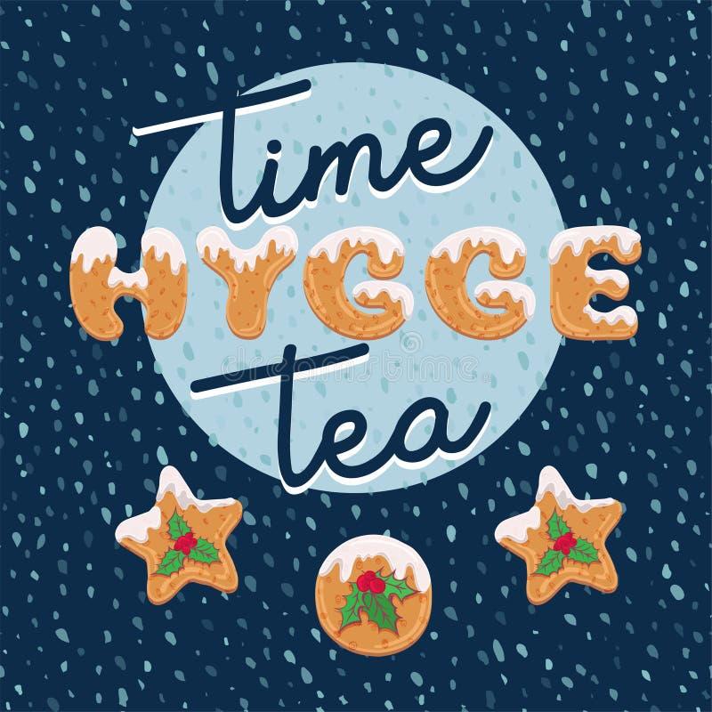 Projeto de cartão do hygge do Natal no estilo dos desenhos animados com formulário de texto de cookies caseiros Letras da garatuj ilustração stock