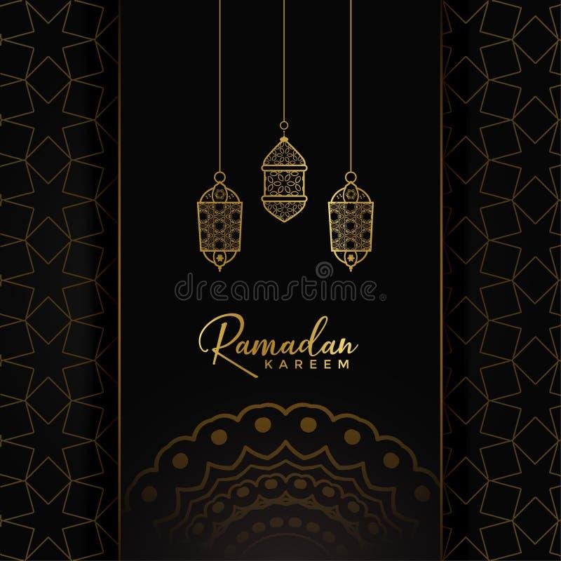 Projeto de cartão do kareem da ramadã com suspensão de lâmpadas douradas ilustração stock