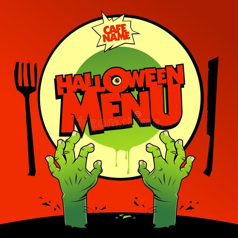 Projeto de cartão do menu de Dia das Bruxas com zombi ilustração royalty free