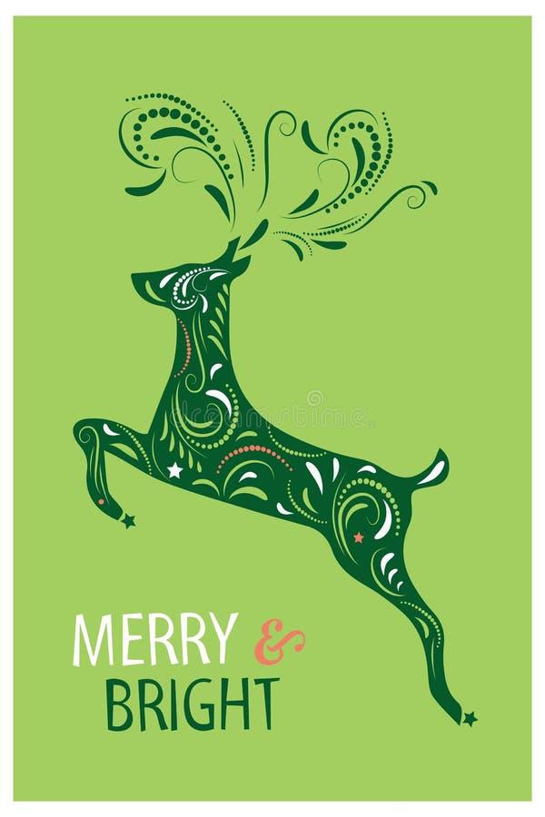 Projeto de cartão do Natal Alegre e brilhante Ilustração desenhada mão do vetor ilustração do vetor