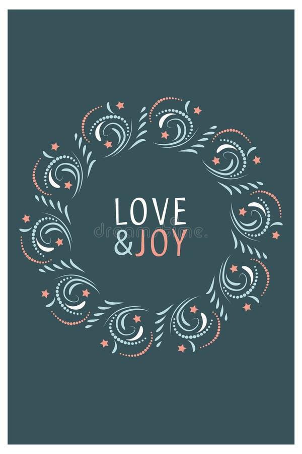 Projeto de cartão do Natal Amor e alegria Ilustração desenhada mão do vetor ilustração stock