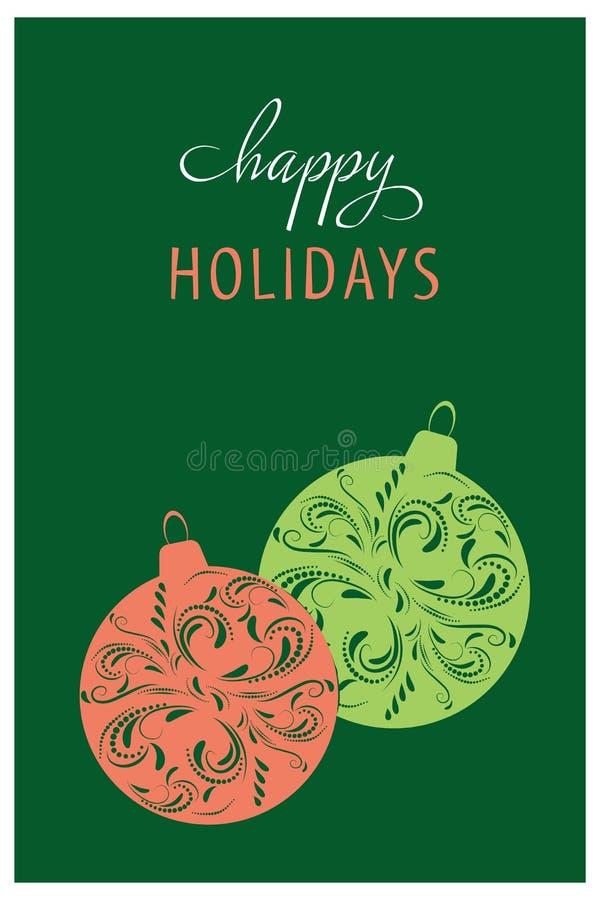 Projeto de cartão do Natal Boas festas Ilustração desenhada mão do vetor ilustração do vetor