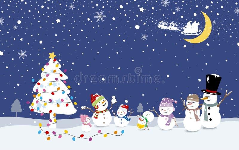 Projeto de cartão do Natal da família do boneco de neve com a árvore do xmas no inverno ilustração stock