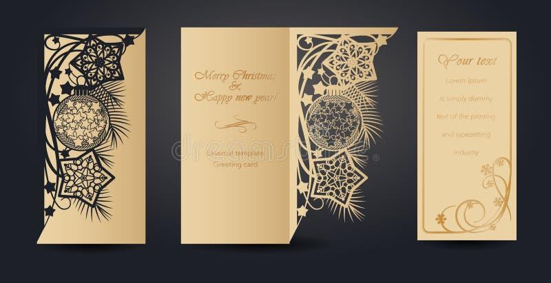 Projeto de cartão do Natal para o corte do laser ` S do ano novo e Natal Teste padrão a céu aberto para envelopes, cartão ilustração do vetor