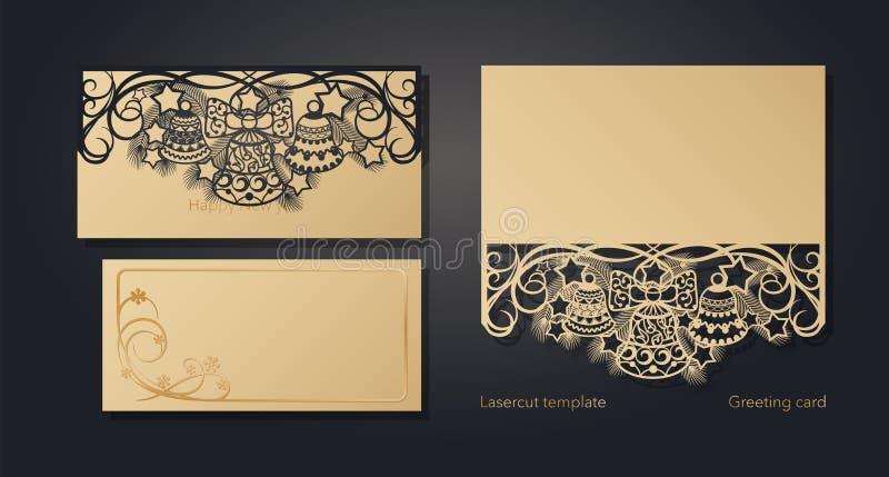 Projeto de cartão do Natal para o corte do laser ` S do ano novo e Natal Teste padrão a céu aberto para envelopes, cartão ilustração royalty free