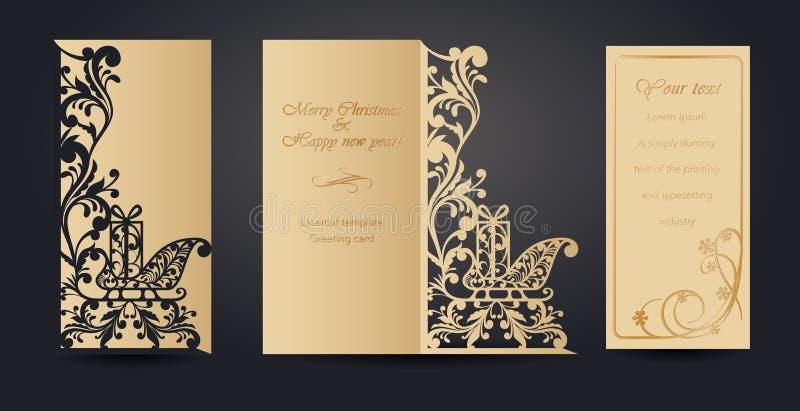 Projeto de cartão do Natal para o corte do laser ` S do ano novo e Natal Teste padrão a céu aberto para envelopes, cartão ilustração stock