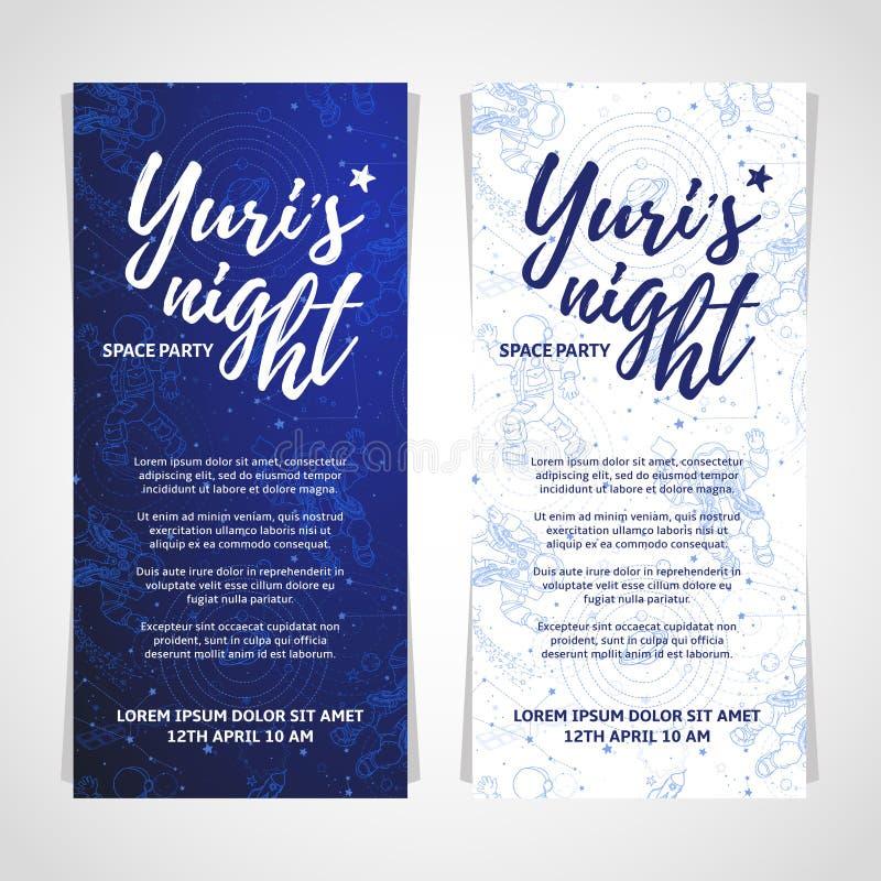 Projeto de cartão do partido do espaço do mundo Bandeira ou inseto da noite do ` s de Yuri 12 de abril dia da cosmonáutica ilustração royalty free