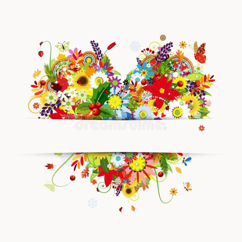 Projeto de cartão do presente com coração floral, quatro estações ilustração stock