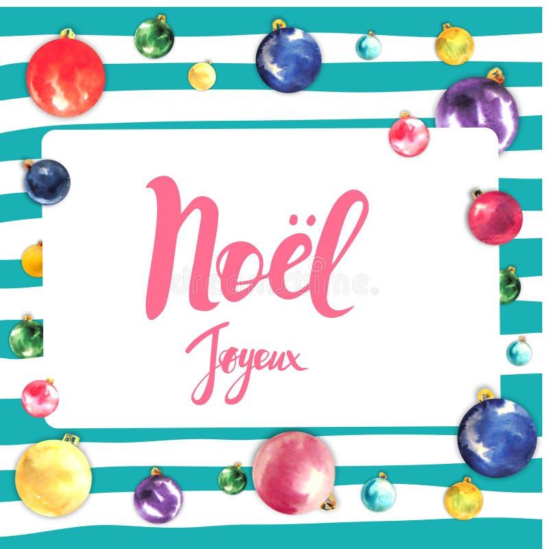 Projeto de cartão do quadro do Feliz Natal com cumprimentos na língua francesa Frase do noel de Joyeux em fundo listrado com foto de stock royalty free