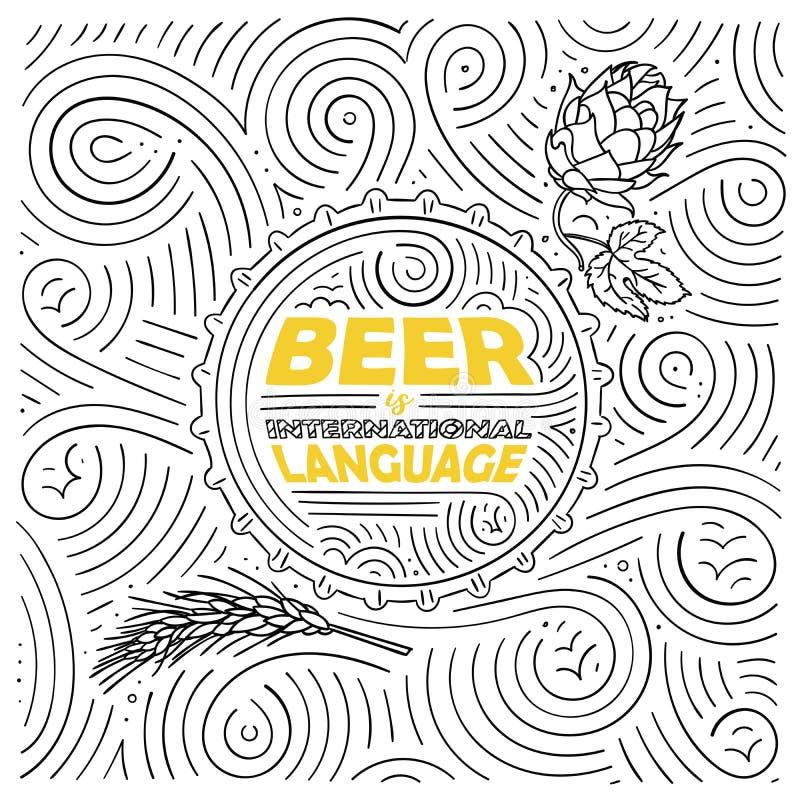 Projeto de cartão do tema da cerveja A rotulação - a cerveja é língua internacional Teste padrão escrito à mão do redemoinho ilustração do vetor