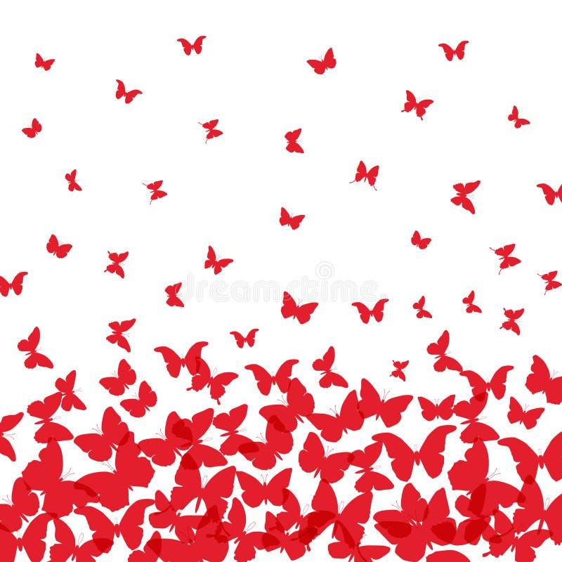 Projeto de cartão do verão da mola bandeira, borboleta vermelha no fundo branco Vetor ilustração do vetor
