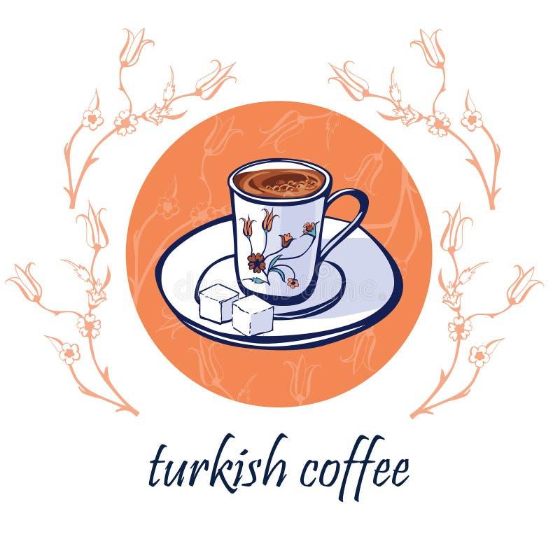 Projeto de cartão do vetor com café turco tradicional ilustração royalty free