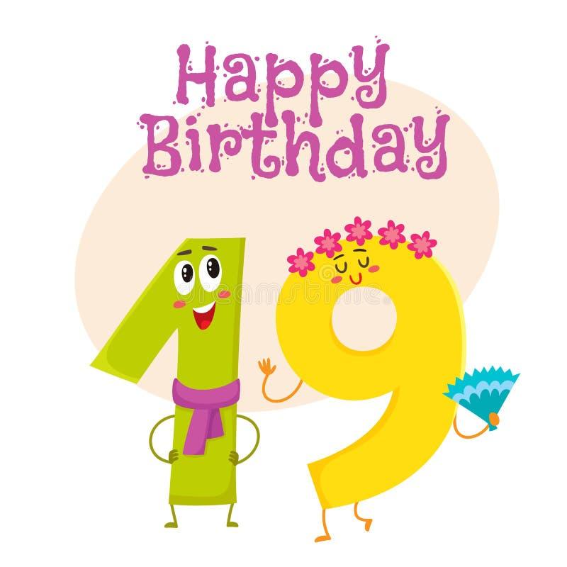 Projeto de cartão do vetor do feliz aniversario com dezenove caráteres do número ilustração stock
