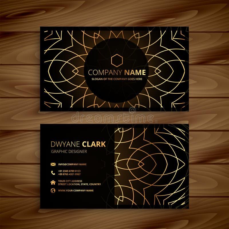 Projeto de cartão dourado luxuoso ilustração stock