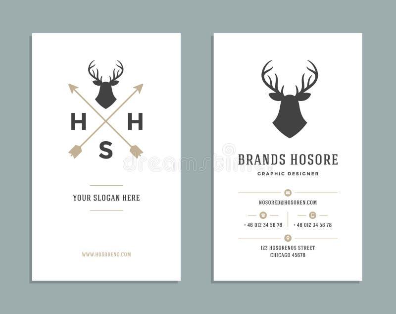 Projeto de cartão e Logo Template retro Estilo do vintage do elemento do projeto do vetor para o Logotype ilustração royalty free