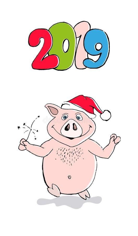 Projeto de cartão engraçado do ano novo feliz 2019 com porco dos desenhos animados ilustração royalty free