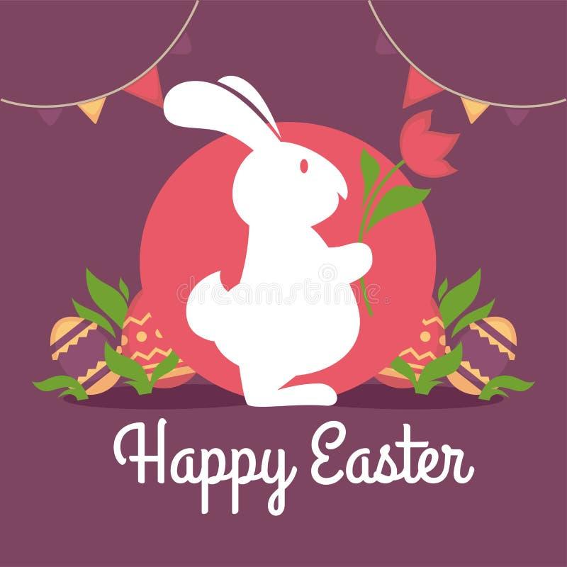 Projeto de cartão feliz da Páscoa Silhueta do coelho com flor ilustração stock