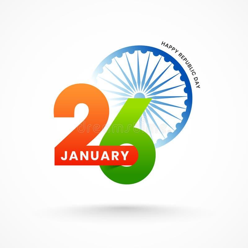 Projeto de cartão feliz do dia da república com letterin do 26 de janeiro ilustração do vetor