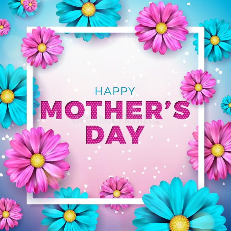 Projeto de cartão feliz do dia de mães com flor e elementos tipográficos no fundo do coração Celebração do vetor ilustração royalty free
