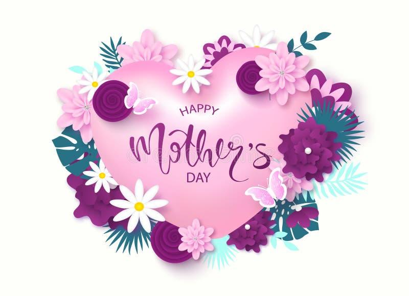 Projeto de cartão feliz do dia do ` s da mãe com as flores, coração, as borboletas e rotulação bonitos da flor Disposição de proj ilustração royalty free