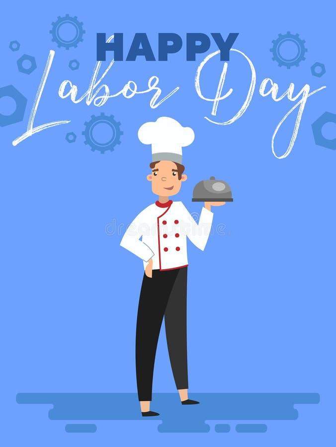 Projeto de cartão feliz do Dia do Trabalhador com o cozinheiro chefe que guarda uma abóbada do alimento em sua mão abaixo do text ilustração royalty free