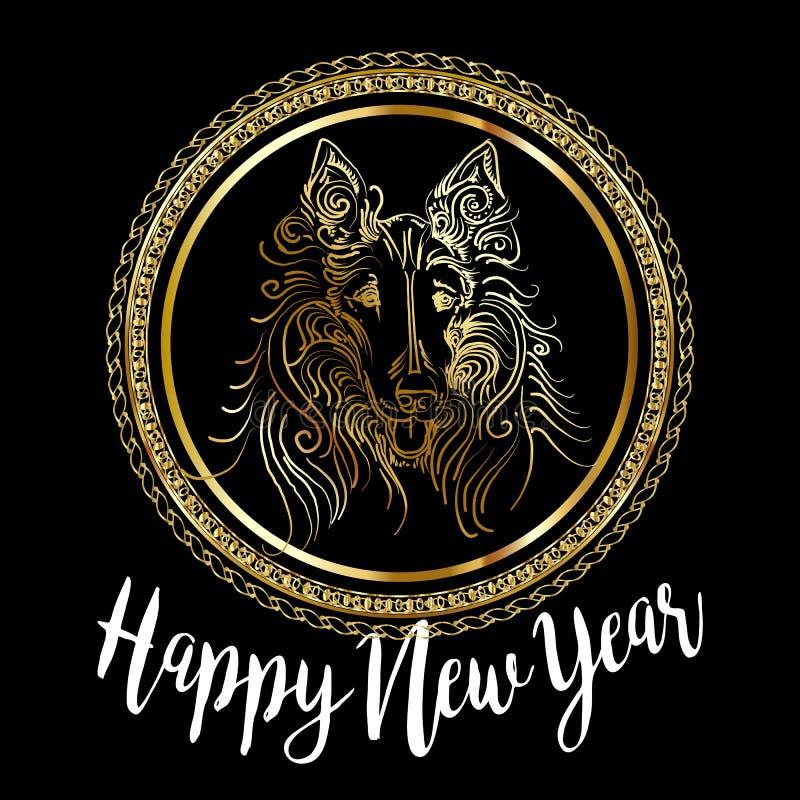 Projeto de cartão festivo chinês com cão bonito, símbolo do vetor do ano novo 2018 do zodíaco de 2018 anos ilustração do vetor