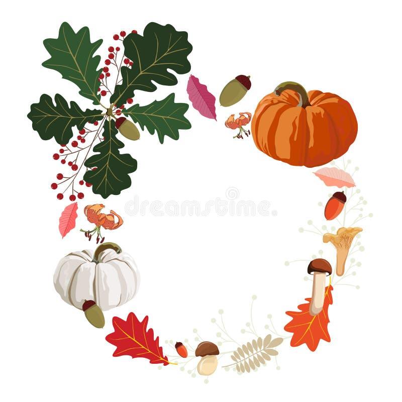 Projeto de cartão floral do estilo da aquarela do vetor feliz da ação de graças A estação do outono convida a natureza ilustração do vetor
