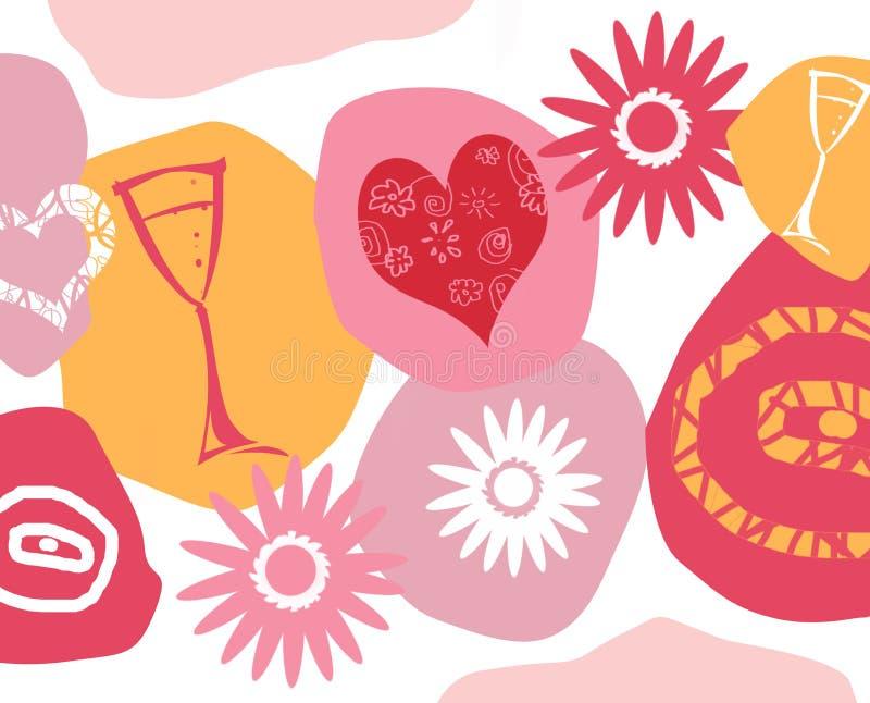 Projeto de cartão Funky para o dia dos Valentim ilustração stock