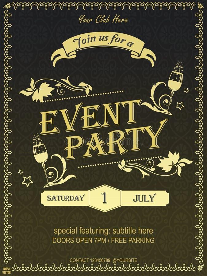 Projeto de cartão ornamentado amarelo do convite do evento do vintage & cartaz & bandeira com elementos florais do vintage e vidr ilustração stock