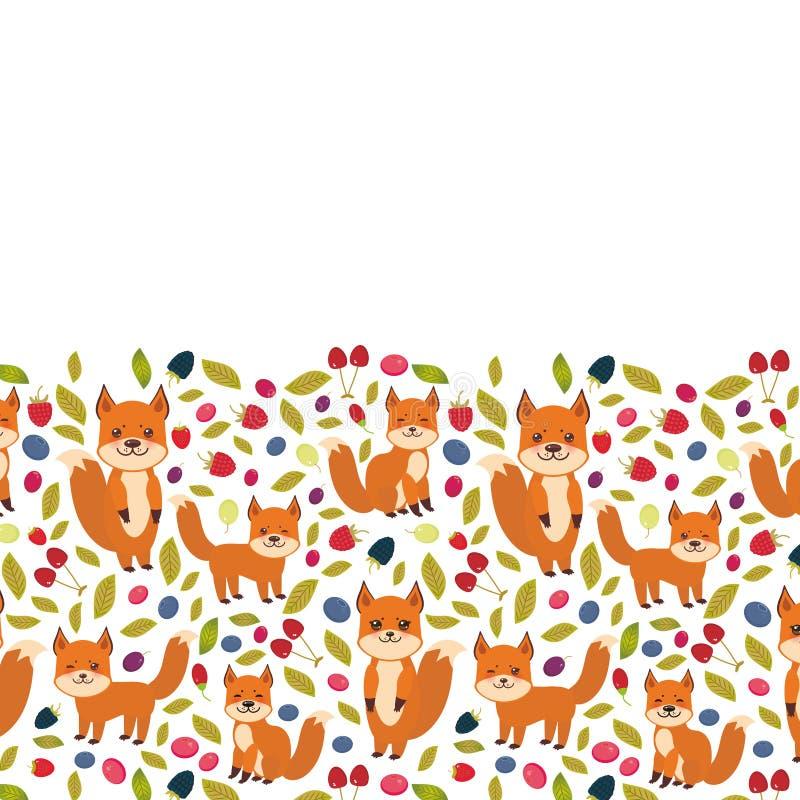 Projeto de cartão para seu texto, raposa bonito do kawaii, uva de Goji da airela do arando de Cherry Strawberry Raspberry Blackbe ilustração stock