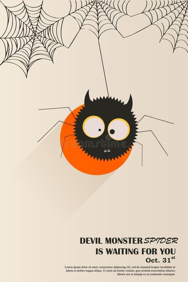 Projeto de cartão pronto, convite do cartaz da aranha do diabo a Dia das Bruxas Gráficos de vetor Lustre o projeto ilustração royalty free