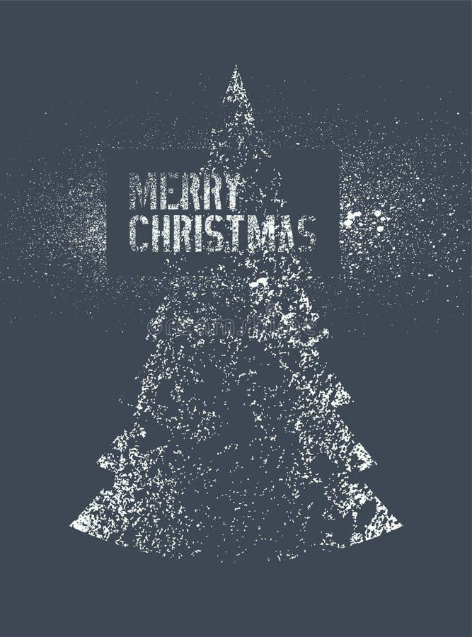 Projeto de cartão tipográfico do Natal do estilo do respingo do estêncil do grunge do vintage Ilustração retro do vetor ilustração stock