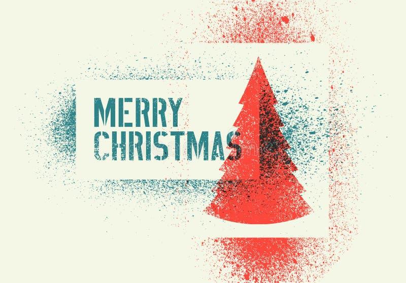Projeto de cartão tipográfico do Natal do estilo do respingo do estêncil do grunge do vintage Ilustração retro do vetor ilustração do vetor