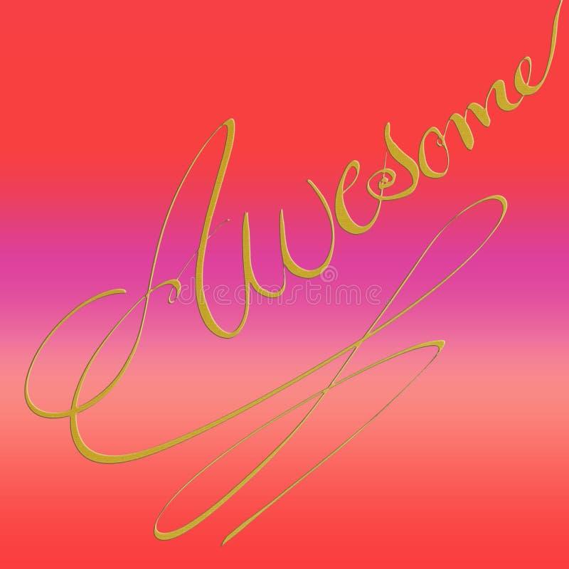 Projeto de cartão tirado mão da caligrafia do ouro Projeto de brilho vibrante ilustração stock