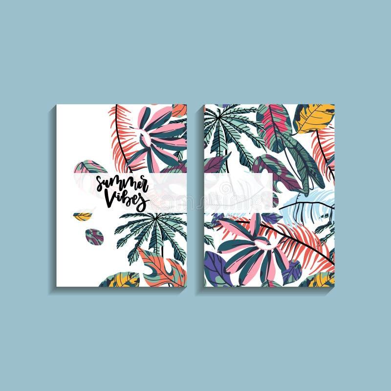 Projeto de cartão tropical das folhas de palmeira ilustração stock