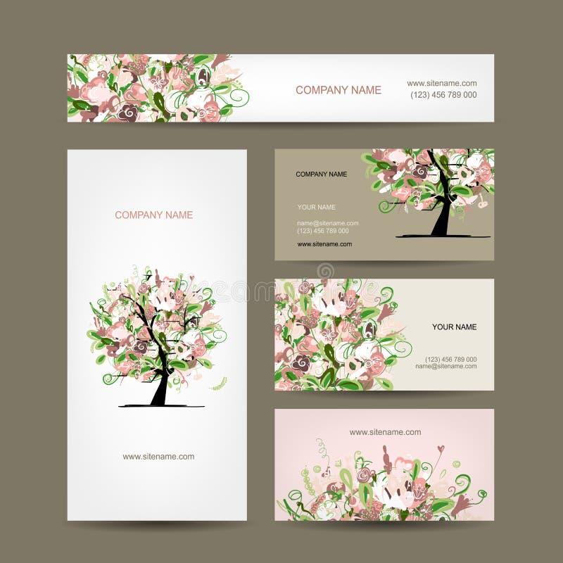Projeto de cartões com esboço floral da árvore ilustração stock