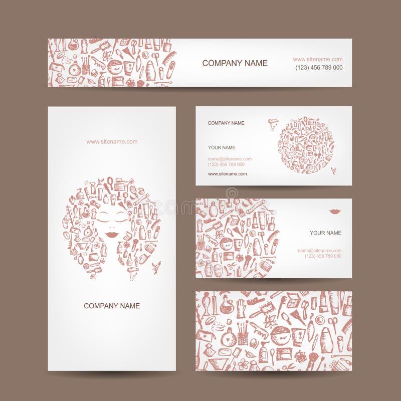 Projeto de cartões, cosméticos e acessórios ilustração do vetor