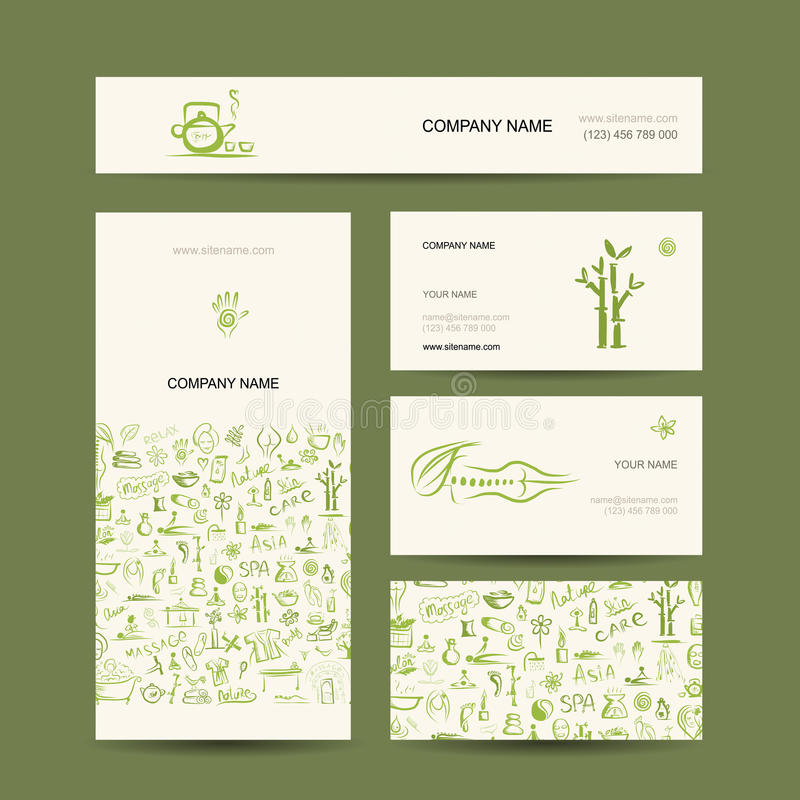 Projeto de cartões, massagem e conceito dos termas ilustração royalty free