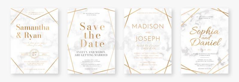 Projeto de cart?o do casamento com quadros dourados e textura de m?rmore Ajuste do anúncio ou do convite do casamento ilustração royalty free