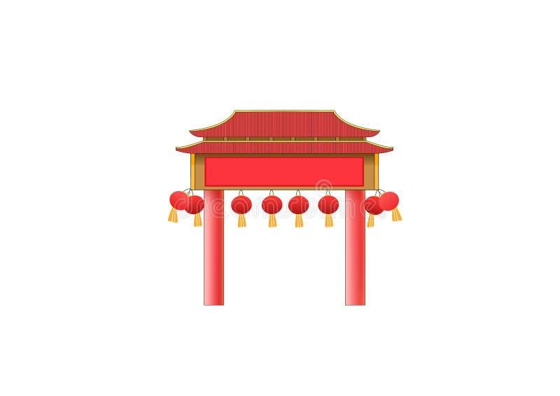 Projeto de China da fachada da porta ilustração royalty free