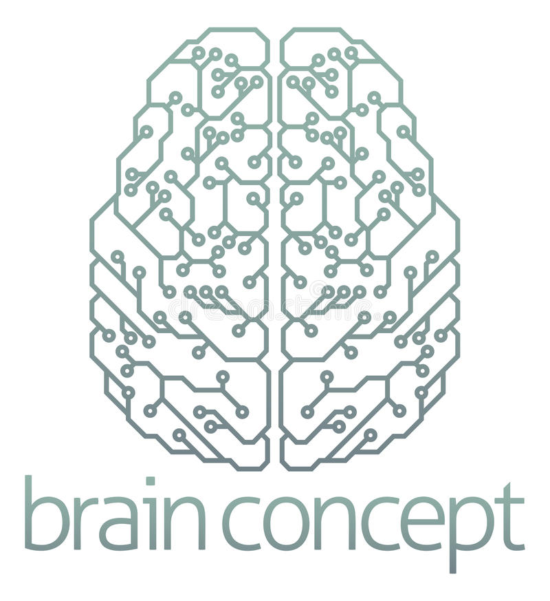 Projeto de circuito do computador do cérebro ilustração royalty free