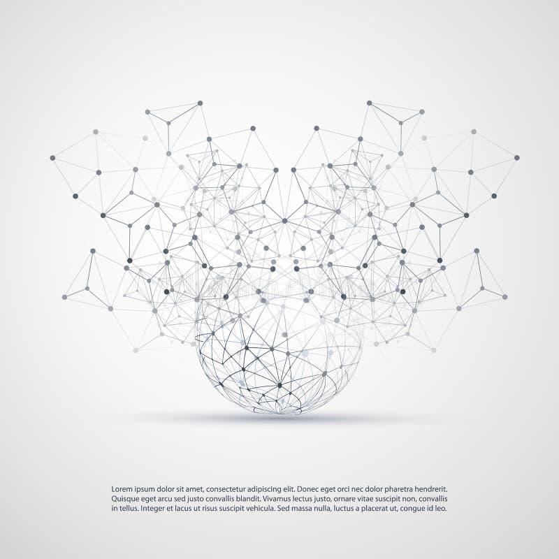 Projeto de conceito abstrato da computação da nuvem e das conexões de rede com malha geométrica transparente, esfera de Wireframe ilustração do vetor