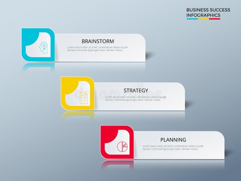 Projeto de conceito bem sucedido do negócio que introduz no mercado o molde infographic Infographics com ícones e elementos ilustração stock